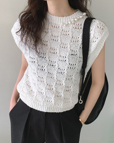 Solid Color Splicing Beaded Knitted Sleeveless Tank Top