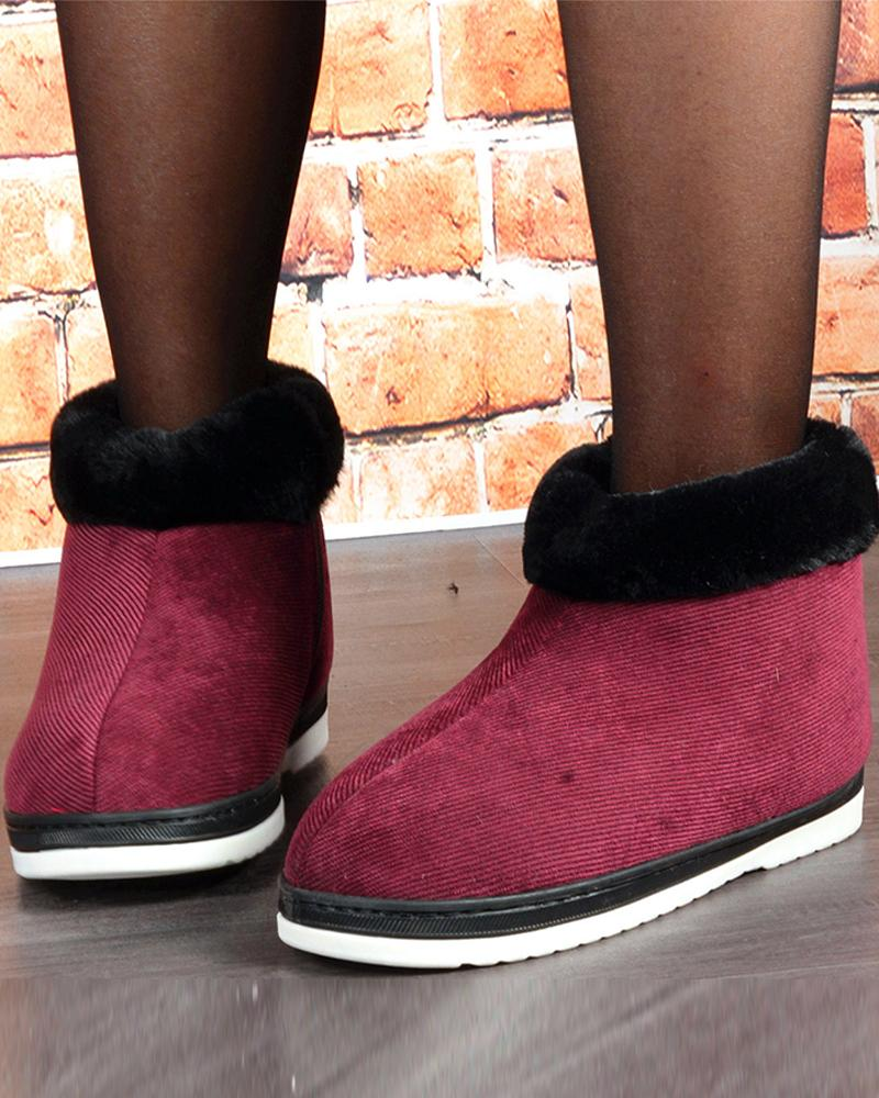 Colorblock Round-toe Fur Patchwork Boots