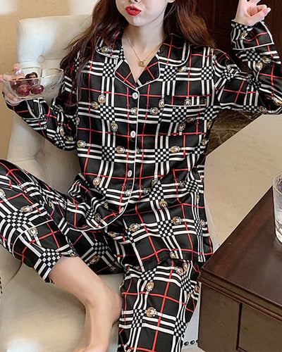 All Over Print Long Sleeve Silk 2-Piece Pajamas Sets