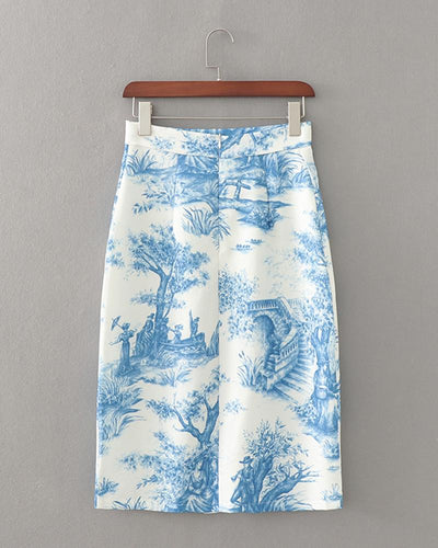 Fashionable Printing Midi Skirt