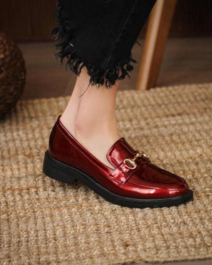 Metallic Bukcle Round-toe Patent Leather Slip-on