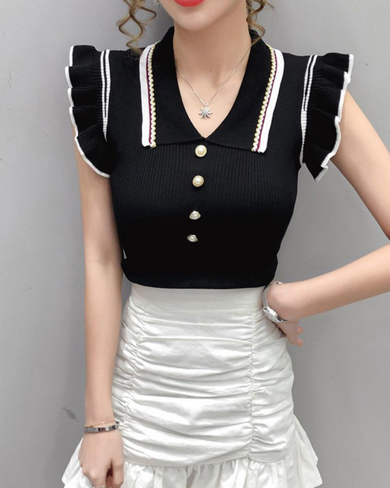 Knit Ribbed Flying Sleeve Fit Top