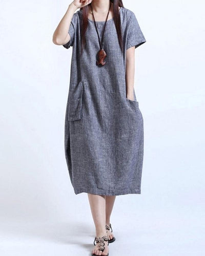 Linen Side Pocket Maxi Dress