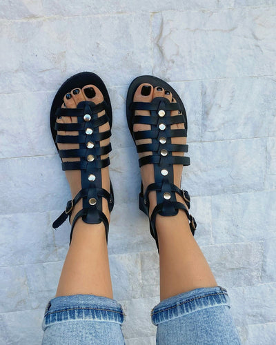Round-toe Straps Splicing Studded PU Leather Flat Sandals