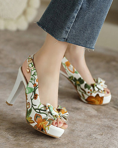 Floral Bowknot Upper Peep-toe High Heel Sandals