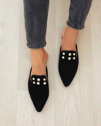 Pointed-toe Solid Color Suede Leather Splicing Beaded Muller Shoes