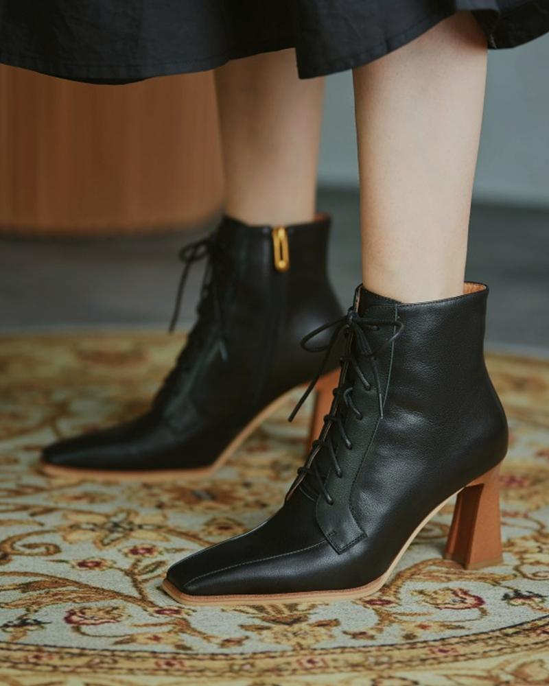 Solid High Heel Pointed-toe Lace-up Boots