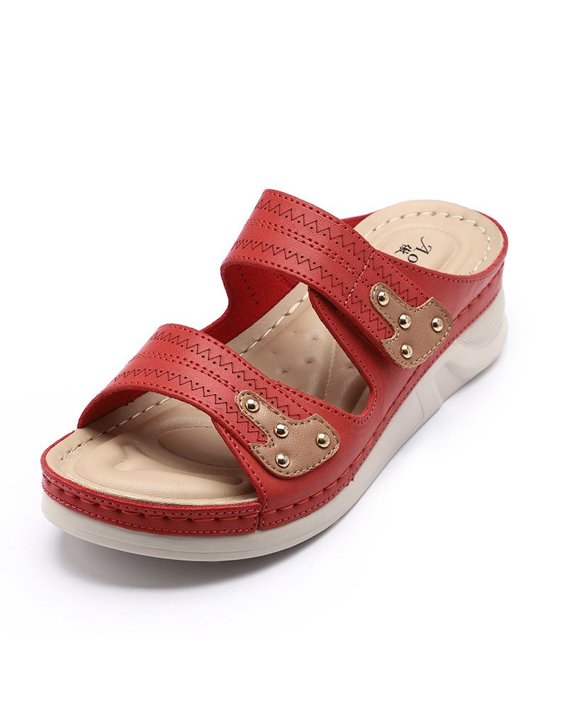 Colorblock Retro Cut-out Wedge Sandals