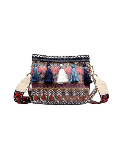 Colorblock Retro Patterns Tassl Shoulder Bags