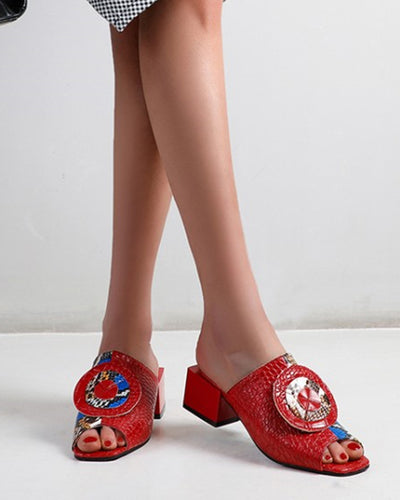 Snakeskin Cross Band Upper Peep-toe Block Heel Sandals