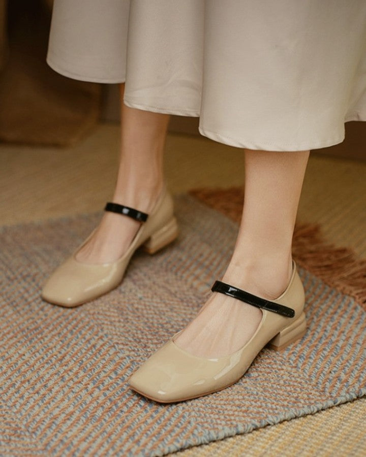 Solid One Bandage Sqaure-toe Low Heel Sandals