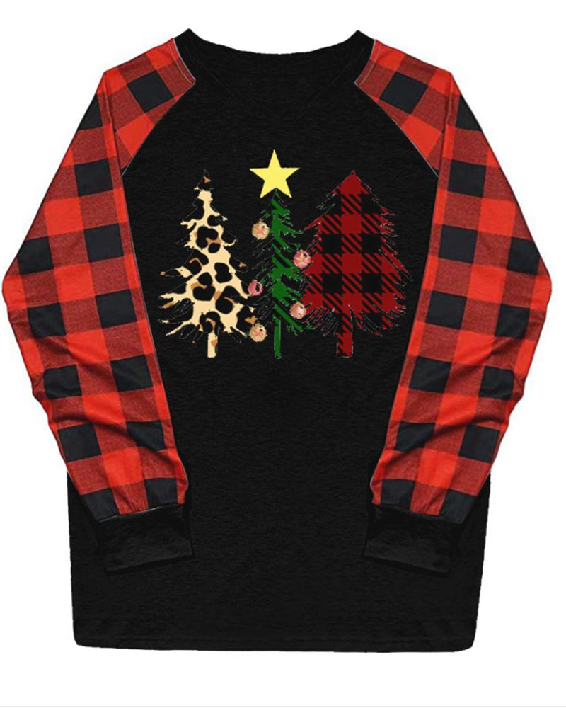 Christmas Trees Printing Long Sleeve Blouse