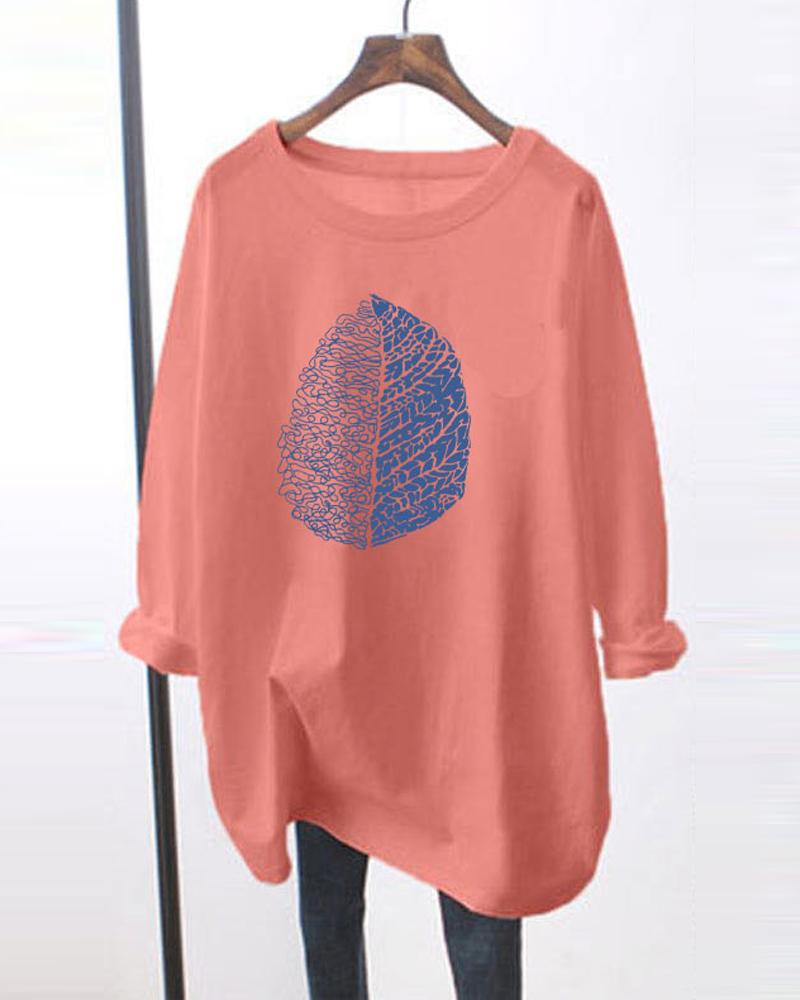 Leaves Printing Long Sleeve Loose Blouse