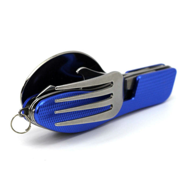 4 in 1 Folding Spoon Fork Knife & Bottle Opener