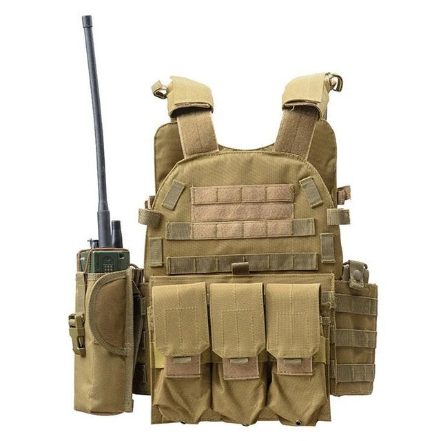 Plate Carrier W/ Magazine, Radio & Medical Pouch