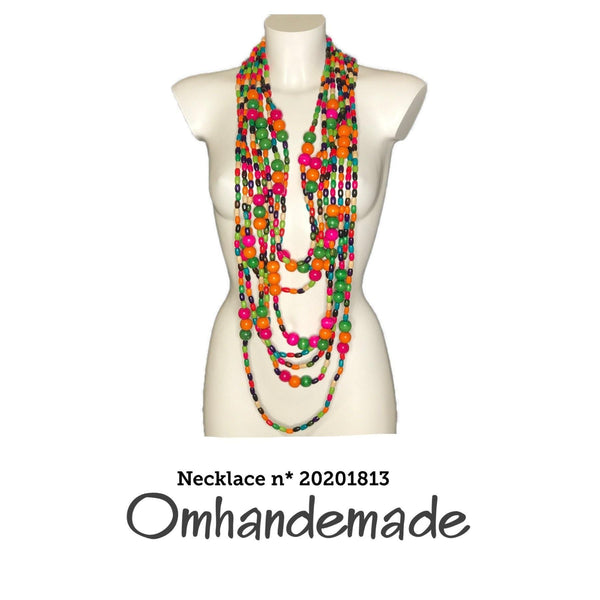20201814 Collana lunga chanel multicolor con Nappone - Omhandemade