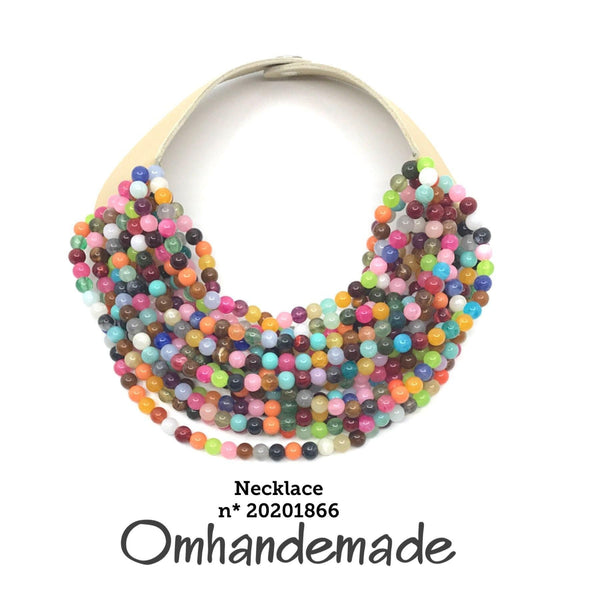 20201866 Collana girocollo stratificata multicolor - Omhandemade