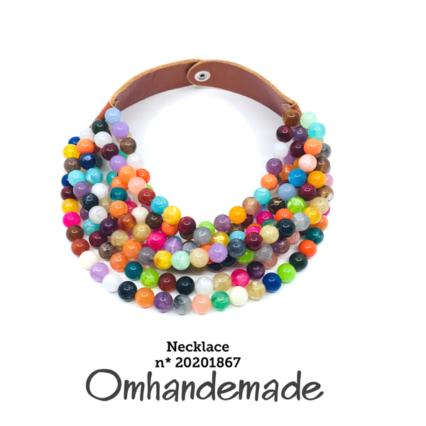 20201867 Collana girocollo stratificata multicolor - Omhandemade