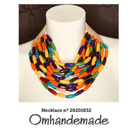 20201832 Fairchild Baldwin style necklace multicolor multicolor neck necklace layered wood relief, bavaglino necklace statement - Omhandemade