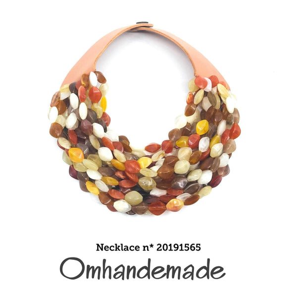 20191565 Fairchild Baldwin multicolor style necklace, layered multiwire choker necklace relief beige brown cream, statement - Omhandemade