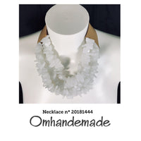 20181444 Fairchild Baldwin style necklace white choker necklace pied poul multiphile layered relief, statement - Omhandemade