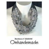 20181440 Fairchild Baldwin grey choker style necklace, layered choker necklace leather collar relief, necklace and bracelet - Omhandemade