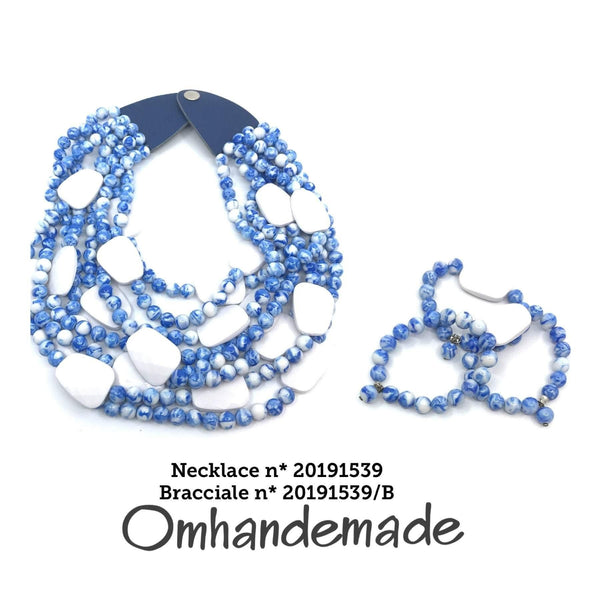 20191539 Fairchild-style Chanel necklace Baldwin layered multiwire necklace white and blue relief bracelet necklace parure gift - Omhandemade