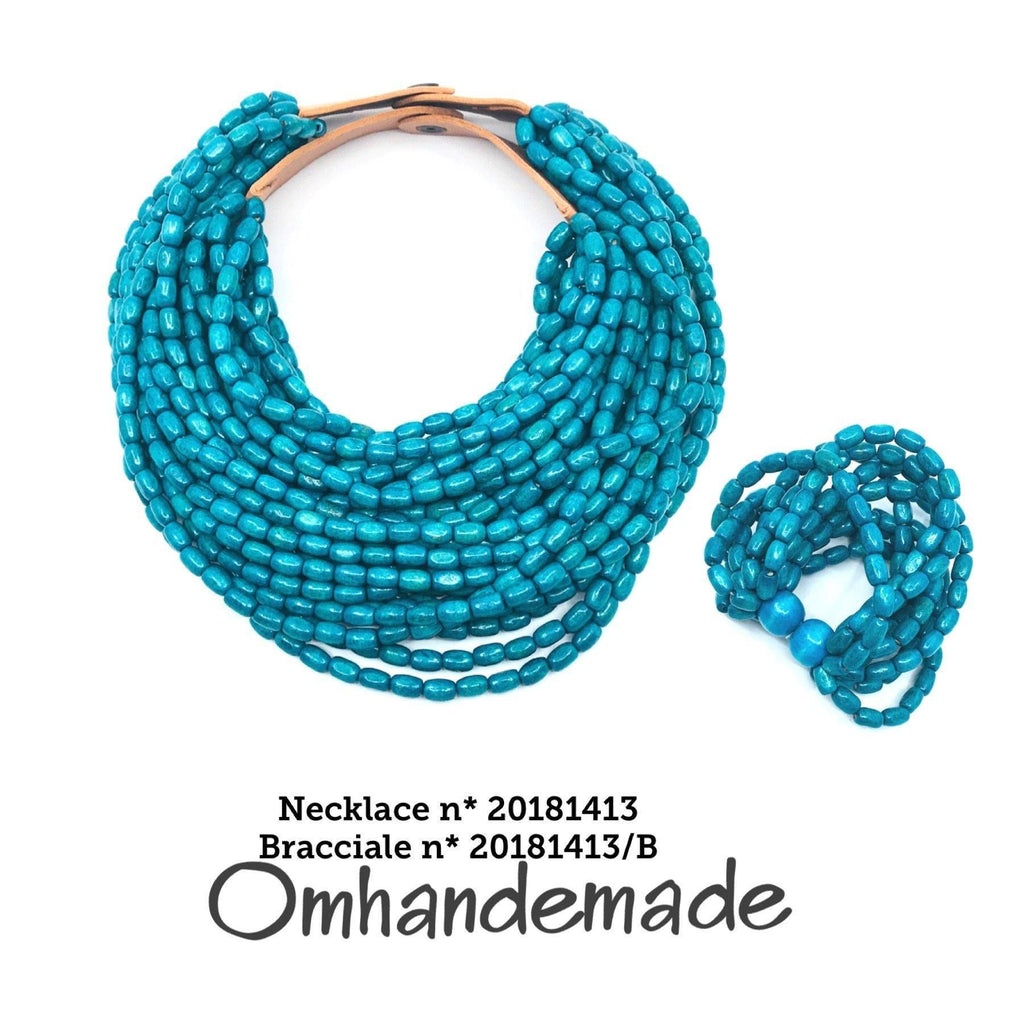 20181413 Fairchild Baldwin style necklace turquoise, layered multi-wire choker necklace leather collar relief statement necklace - Omhandemade