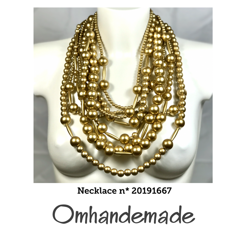 20191667 Collana chanel media multi filo stratificata resina dorata - Omhandemade