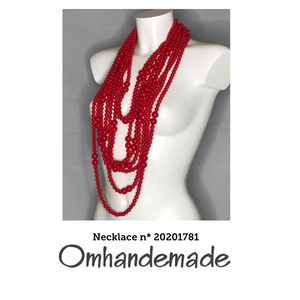 20201781 Collana lunga chanel rossa in resina - Omhandemade