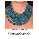20191526  Collana girocollo multifio turchese e marrone - Omhandemade