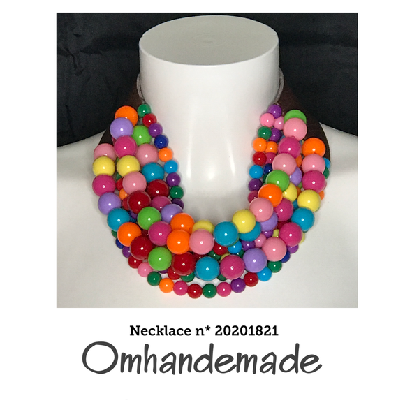 20201821 Collana girocollo multicolor - Omhandemade
