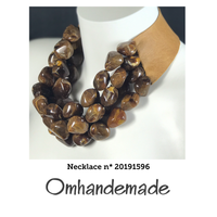 20191596 Collana girocollo multi filo sassi marrone in resina - Omhandemade
