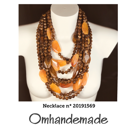 20191569 Collana media multi filo marrone e giallo in resina - Omhandemade
