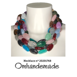 20201768 Collana girocollo multicolor multi filo stratificata in resina - Omhandemade
