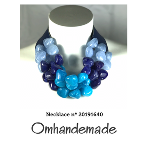 20191640 Collana girocollo multicolor turchese multi filo sassi - Omhandemade