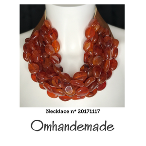 20171117 Collana girocollo multi filo stratificata pepite marrone in resina - Omhandemade