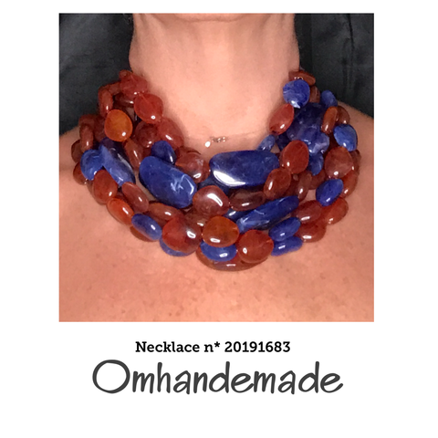 20191683 Collana girocollo marrone e blu, multicolor stratificata pepite in resina - Omhandemade