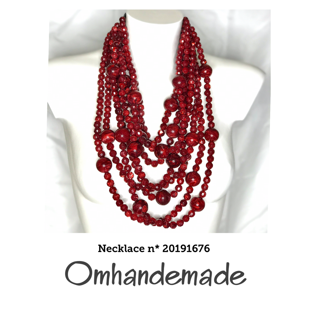 20191676 Collana media bordeaux stratificata rilievo in resina - Omhandemade
