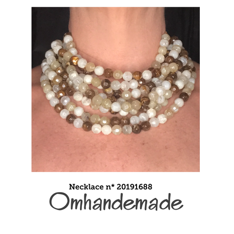 20191688 Collana girocollo multicolor stratificata multifilo a rilievo - Omhandemade