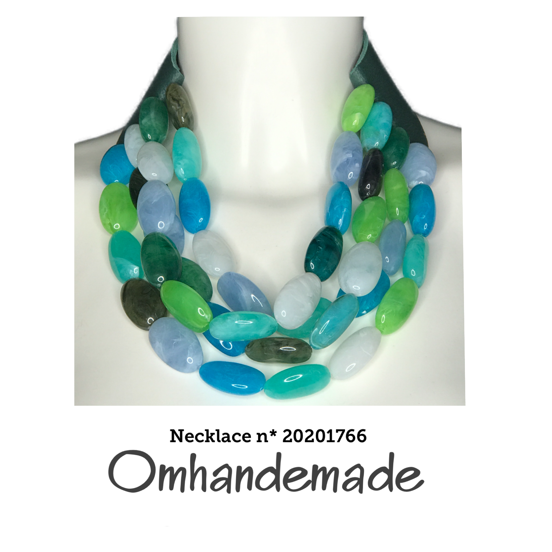 20201766 Collana girocollo turchese multicolor multifilo stratificata in resina - Omhandemade