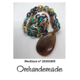 20201805 Collana catena ad 1 filo multicolor e pendente marrone - Omhandemade