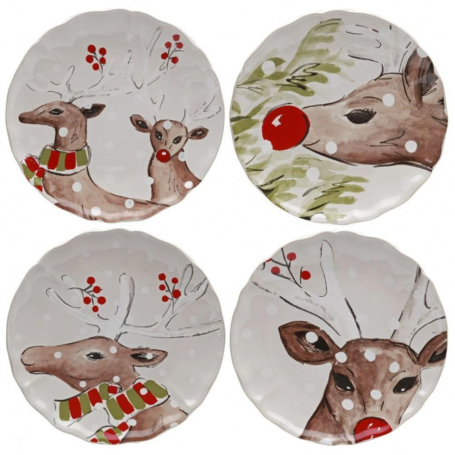 CASAFINA DEER FRIENDS WHITE SALAD PLATE