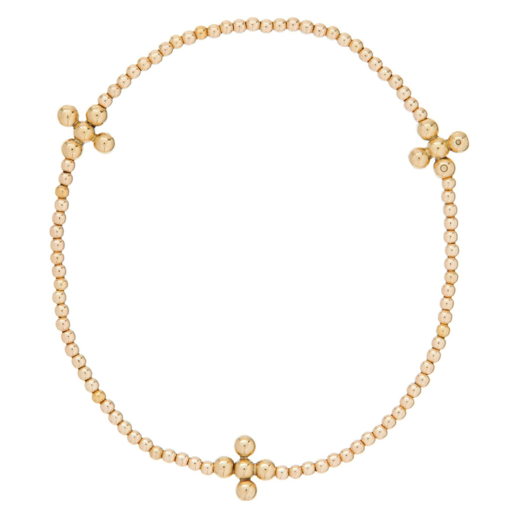 enewton Signature Cross Gold Pattern 2mm Bead Bracelet - Classic Beaded Signature Cross Gold - 3mm Bead Gold