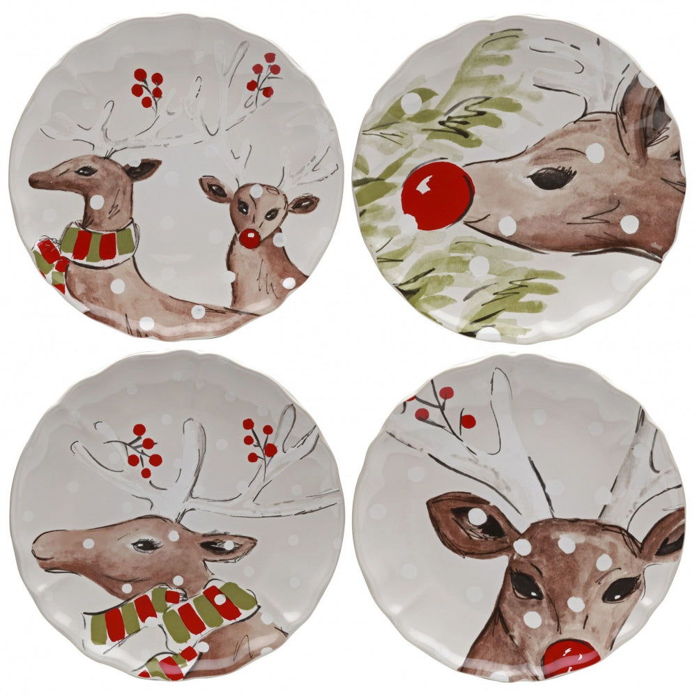 CASAFINA DEER FRIENDS WHITE DINNER PLATE