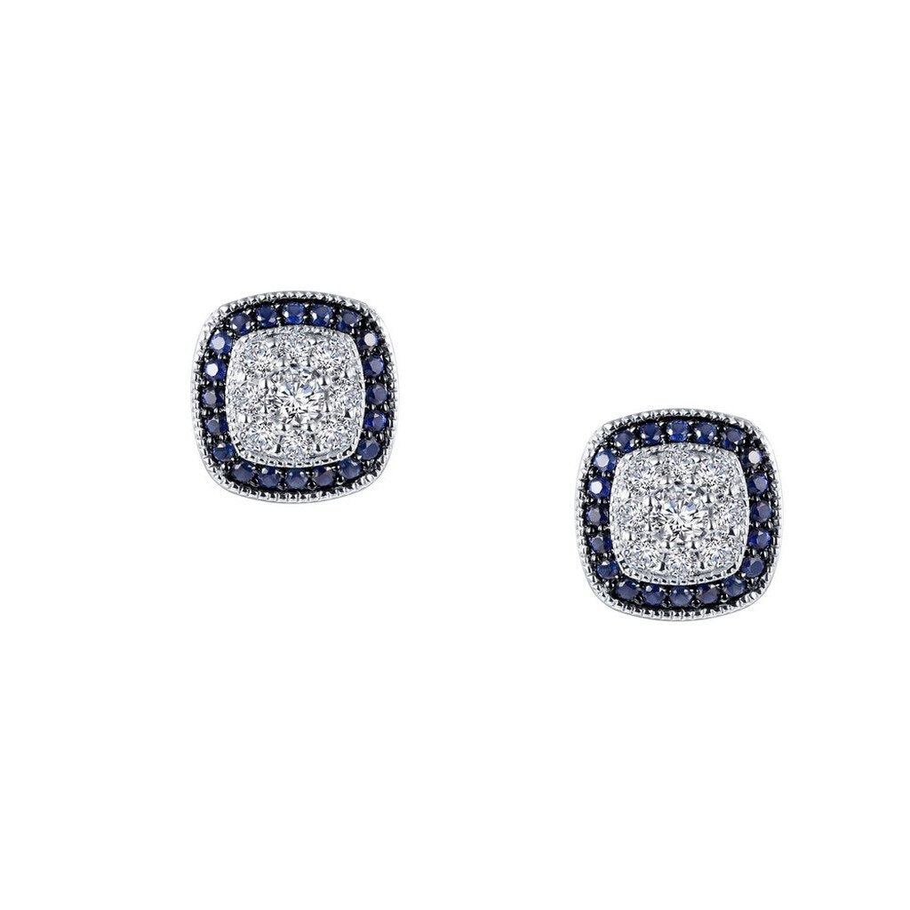 Lafonn Sapphire Earrings in Sterling Silver Bonded with Platinum