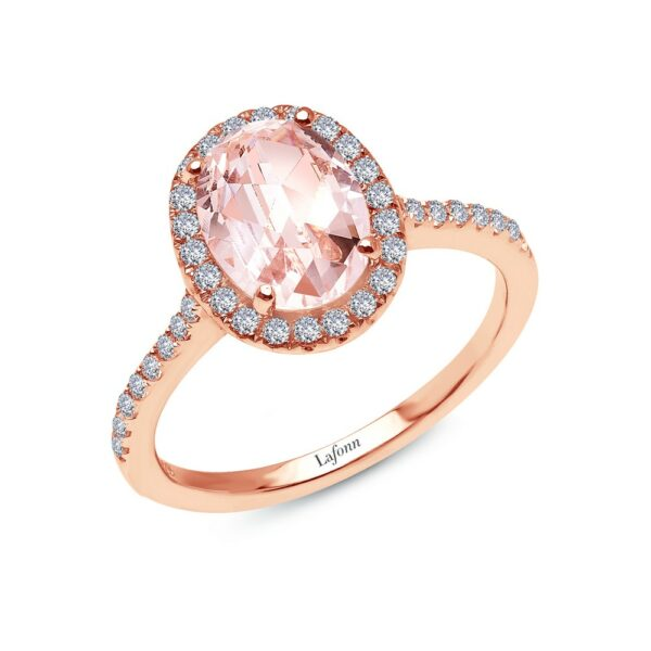 Lafonn Oval Rose-Cut Halo Engagement Ring