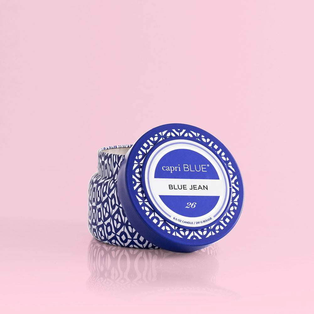 CAPRI BLUE PRINTED TRAVEL TIN CANDLE