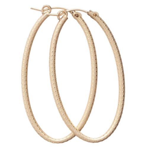 "enewton Oval Gold Textured 2"" Hoop Earring"