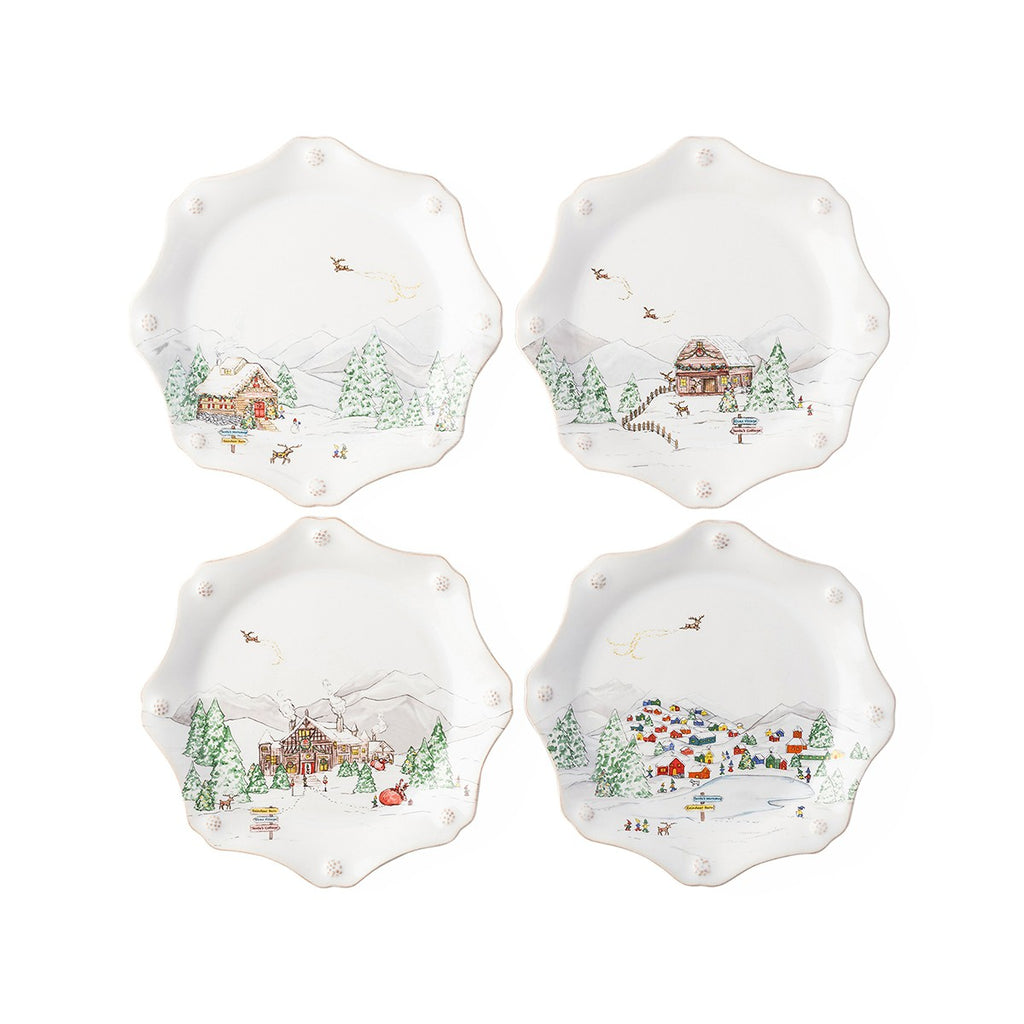 Juliska Berry & Thread North Pole Scalloped Dessert/Salad Plate Set/4